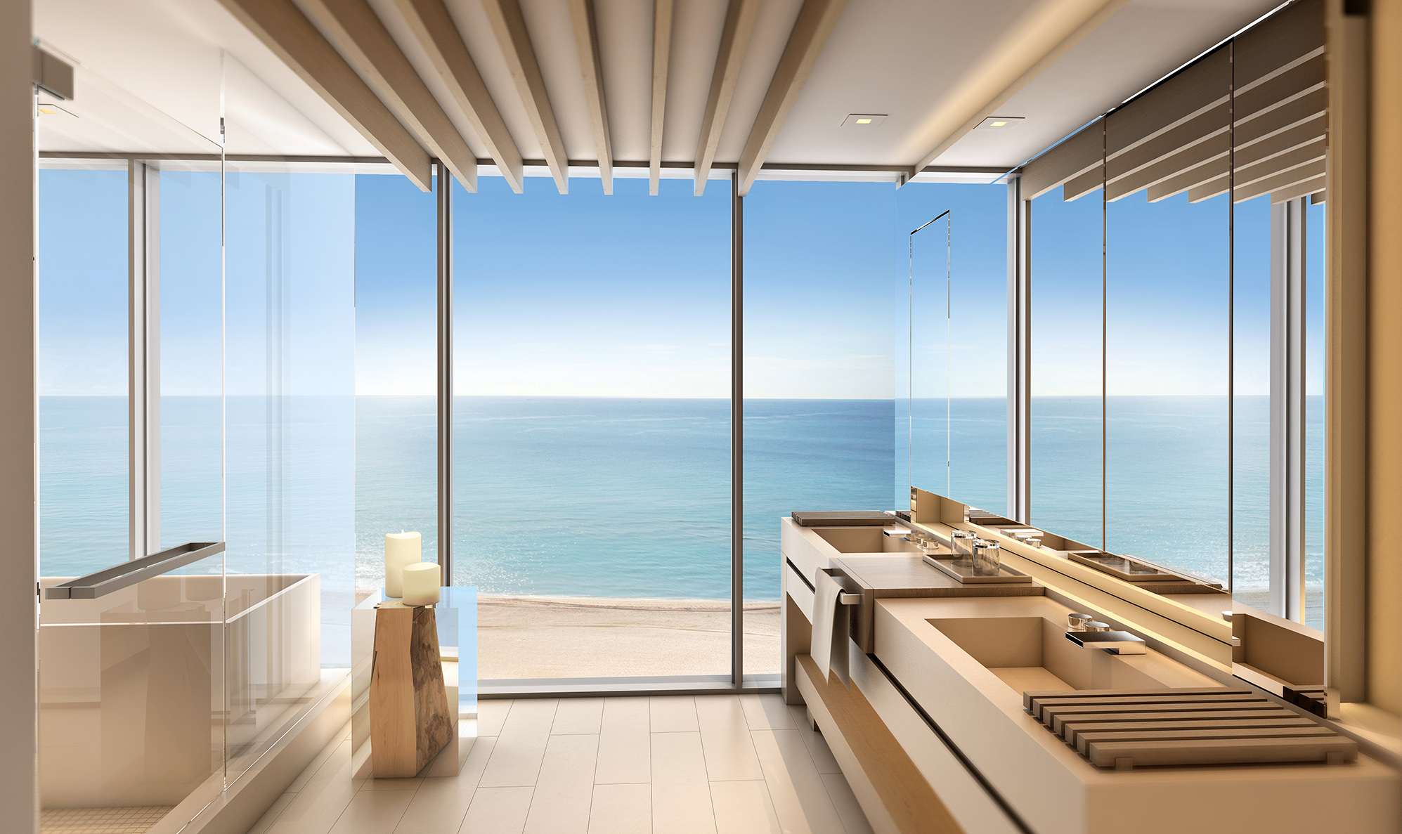 Nature bathroom design - Debora Aguiar Design Miami Beachfront Condos 1 Hotel